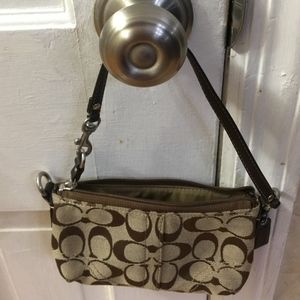 Almost NEW Coach Monogram Canvas Wristlet